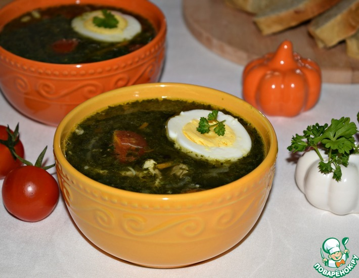 Рецепт: Куриный суп со шпинатом Отличный