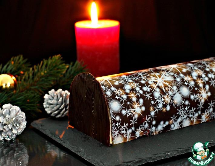 Рецепт: Торт Новогоднее полено с клюквой