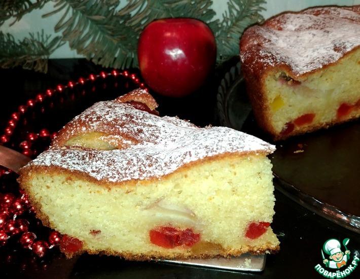 Рецепт: Яблочный пирог с творогом и цукатами