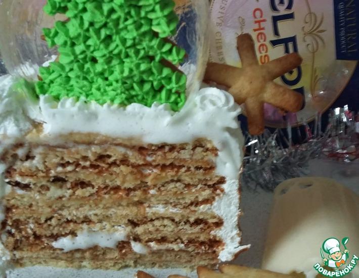 Рецепт: Мини-торт Елка в карамельном шаре