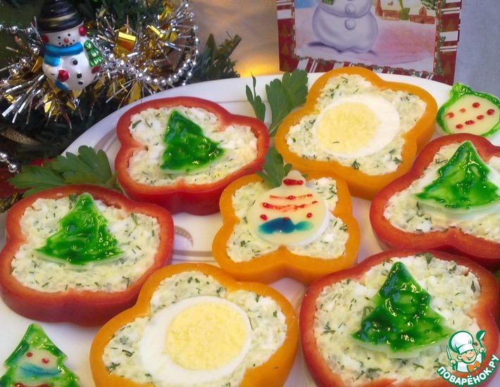 Рецепт: Сырые кольца перца, фаршированные сыром