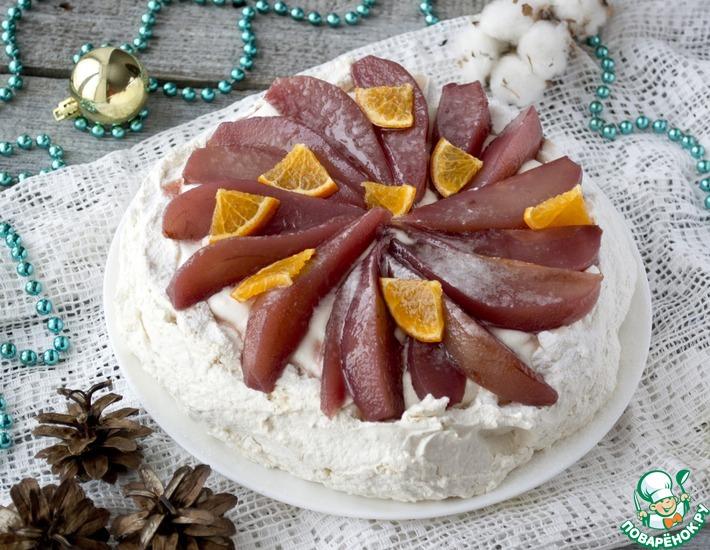 Рецепт: Десерт Анна Павлова с пряными грушами