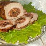 Фаршированная свинина на вертеле