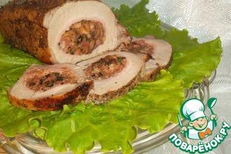 Рецепт: Фаршированная свинина на вертеле