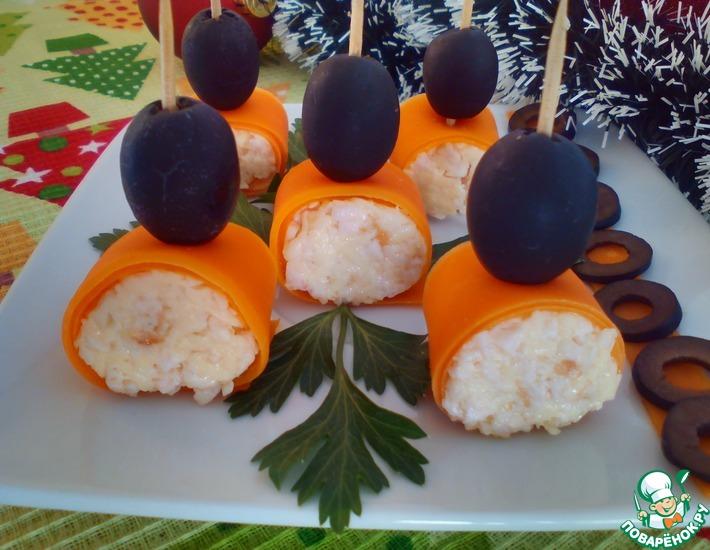 Рецепт: Рулетики из моркови Фуршетные