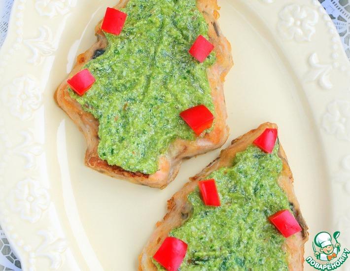 Рецепт: Рыбное суфле под зеленым сырным соусом