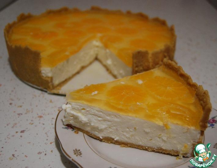 Рецепт: Творожный торт без выпечки Мандаринка