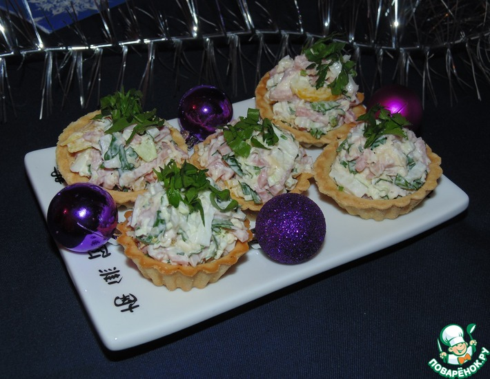 Рецепт: Тарталетки с пикантным сырным салатом