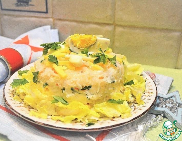 Рецепт: Салат с квашеной капустой и сыром