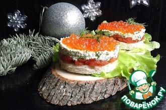 Рецепт: Порционные бутерброды Рождественский вечер