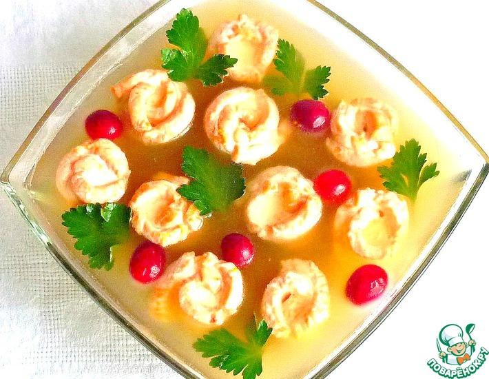 Рецепт: Рождественское заливное без желатина Рыбное ассорти
