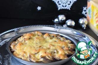 Рецепт: Язык под сливочно-грибным соусом с сыром