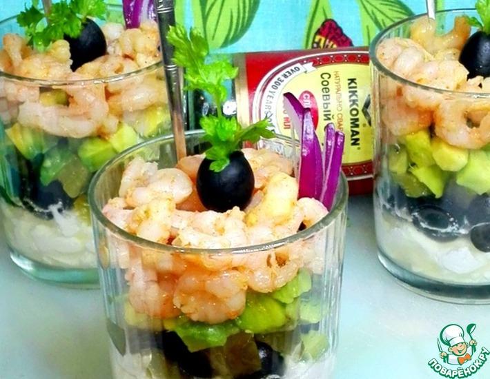 Рецепт: Салат с зернёным творогом и креветками