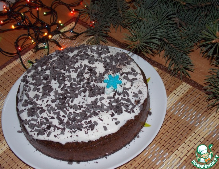 Рецепт: Пирог кофейный со сметанным кремом