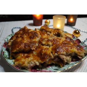 Курица в яблочной шубе под сыром