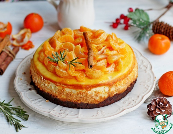 Чизкейк с брауни и пряными мандаринами