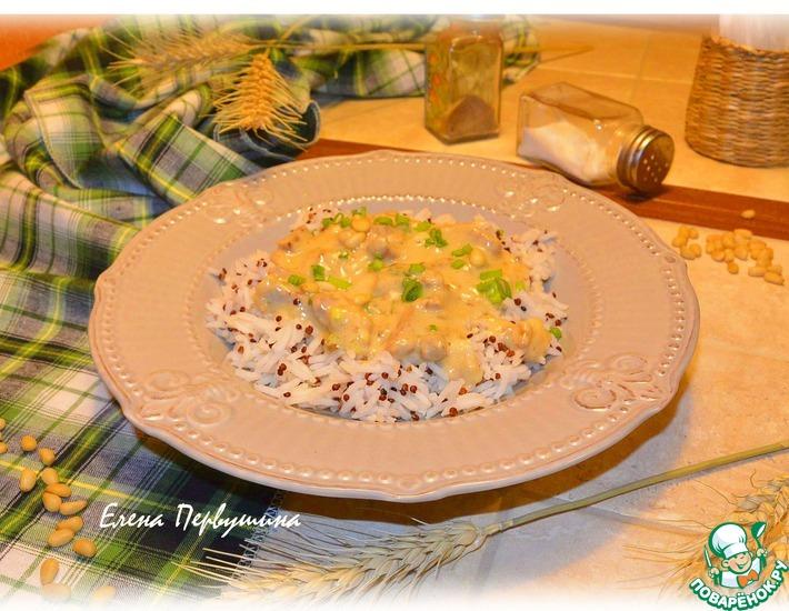 Рецепт: Поджарка мясная в чесночно-молочном соусе