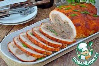 Рецепт: Курица со свининой, грибами и фасолью