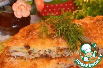 Рецепт: Пирог-сметанник с курицей и грибами