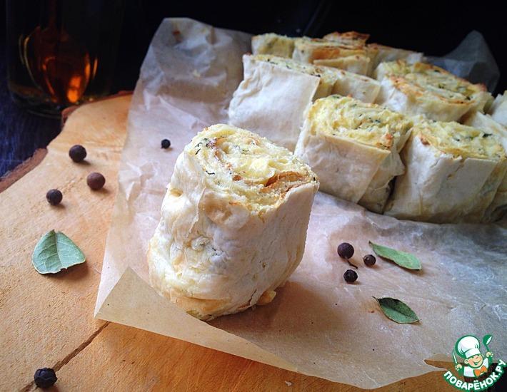 Рецепт: Пирог из лаваша с творогом и сыром