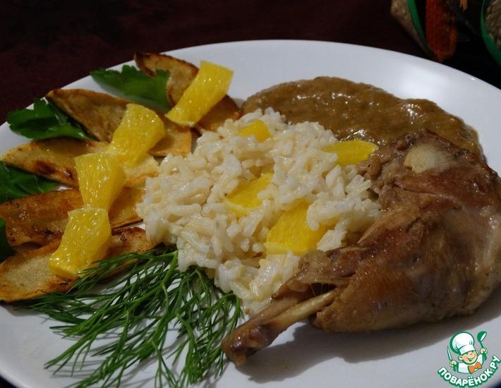 Рецепт: Кролик с рисом под фруктовым соусом