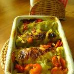 Голубцы с куриным фаршем и овощи