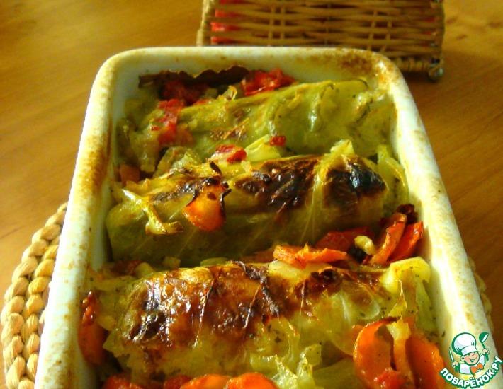 Рецепт: Голубцы с куриным фаршем и овощи