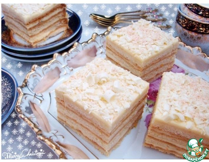 Рецепт: Медовые пирожные с творожно-апельсиновым кремом