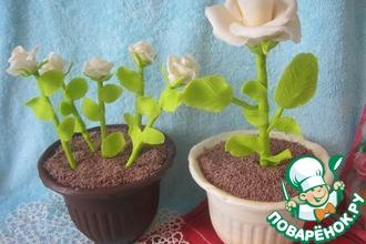 Рецепт: Торт Горшочек с розой