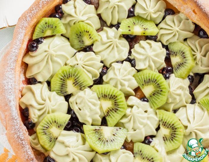 Рецепт: Немецкий панкейк со сливочно-фруктовой начинкой