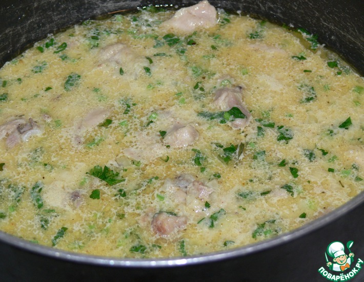 Рецепт: Курица в сметане по-кабардински Гедлибже