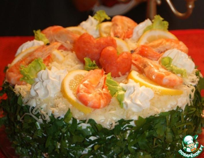 Рецепт: Закусочный торт-салат Путь к сердцу