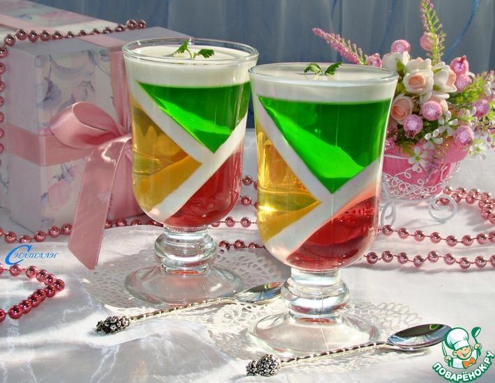 Рецепт: Десерт Фруктовый калейдоскоп