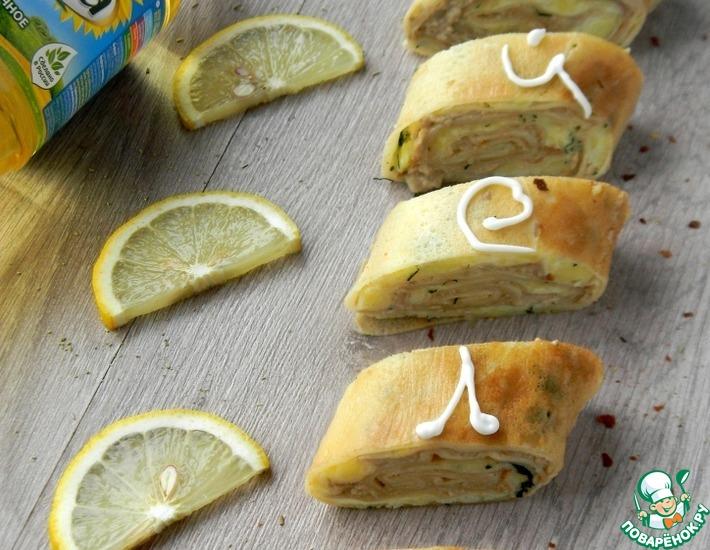 Рецепт: Блинный рулет с печенью трески и картофелем