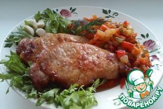 Рецепт: Жареная свинина с овощным гарниром Гармония