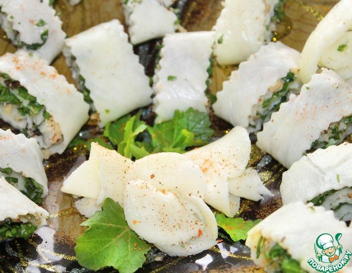 Рецепт: Закусочные рулетики из сулугуни Дамский каприз