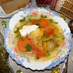 Овощной слоеный суп Очень интересный