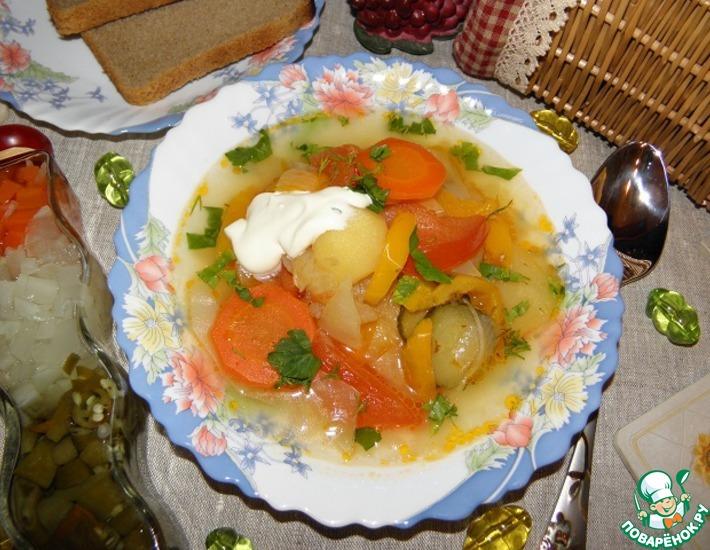 Рецепт: Овощной слоеный суп Очень интересный