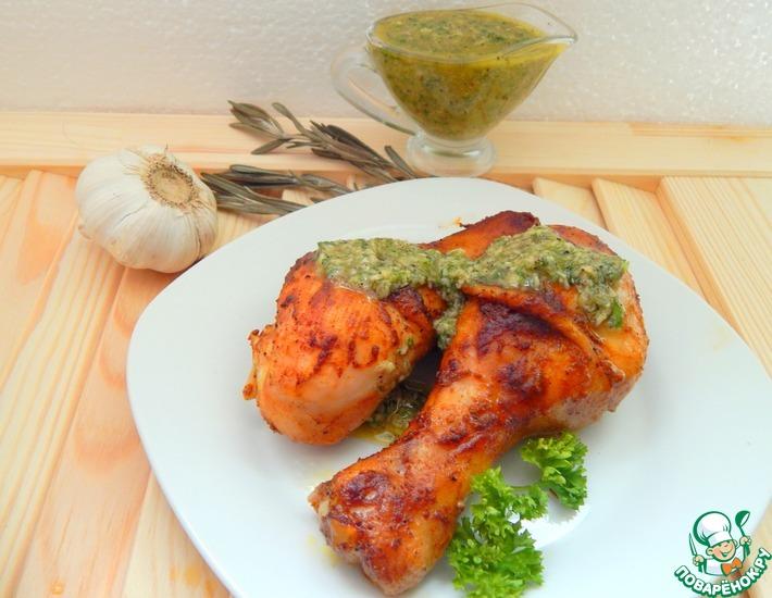 Рецепт: Куриные голени под чесночным соусом
