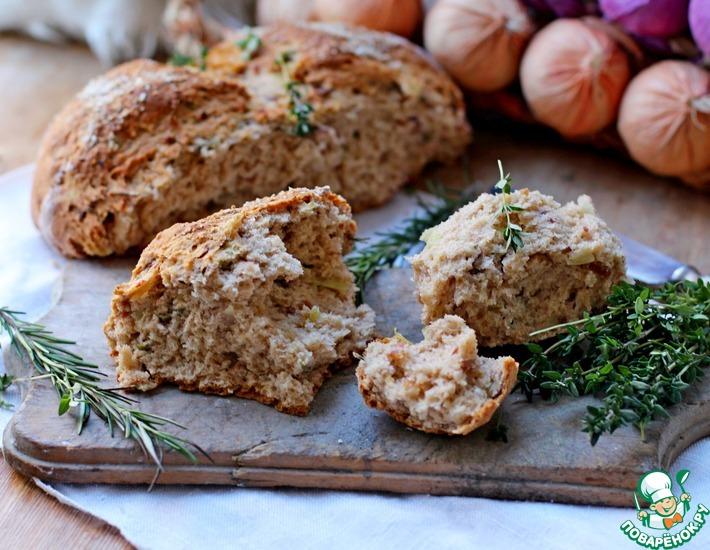 Рецепт: Бездрожжевой хлеб с луком и беконом