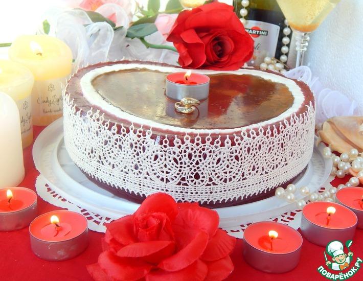 Рецепт: Торт Сердце ангела на розовом шампанском