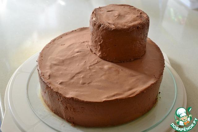 Торт с шоколадным муссом и ванильным кремом