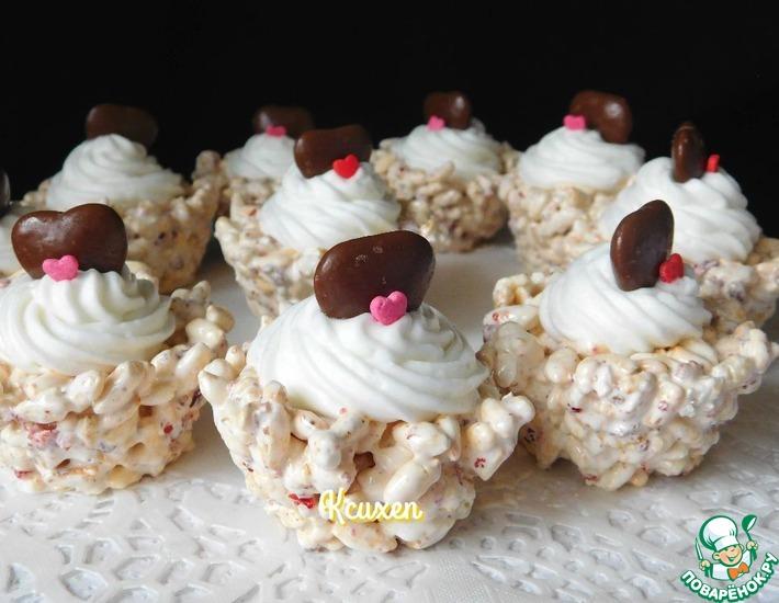 Рецепт: Десерт из воздушного риса Валентинки