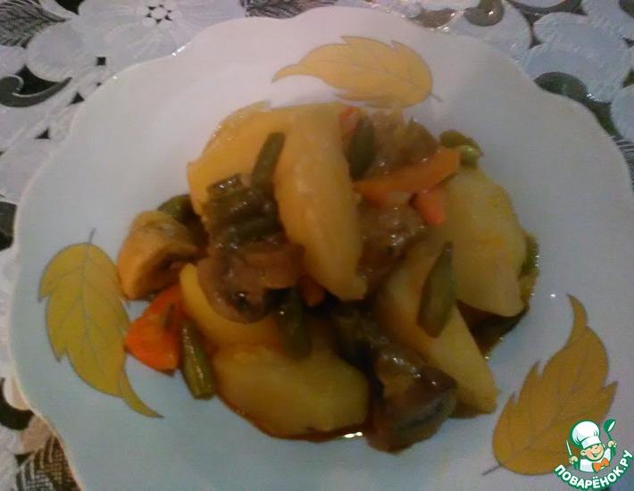 Рецепт: Тушеный картофель с грибами