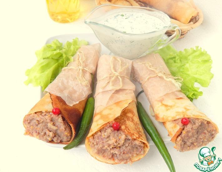 Рецепт: Блины с сельдью и йогуртовым соусом