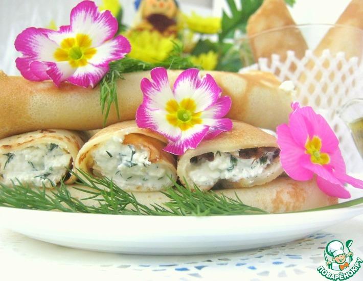 Рецепт: Блины с сырной пикантной начинкой и соусом