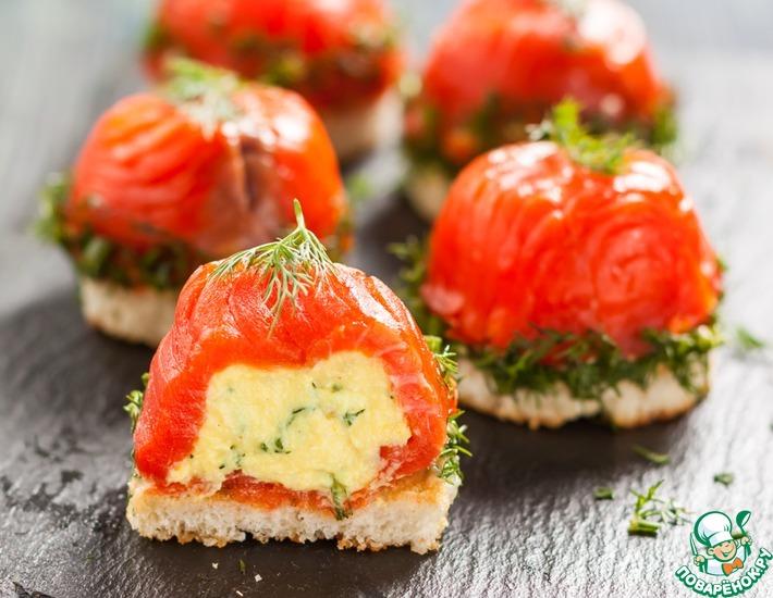 Рецепт: Закуска из нерки и творожного сыра