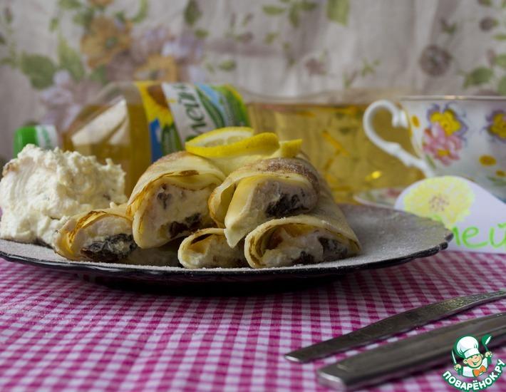Рецепт: Блинчики с творогом, изюмом и лимоном