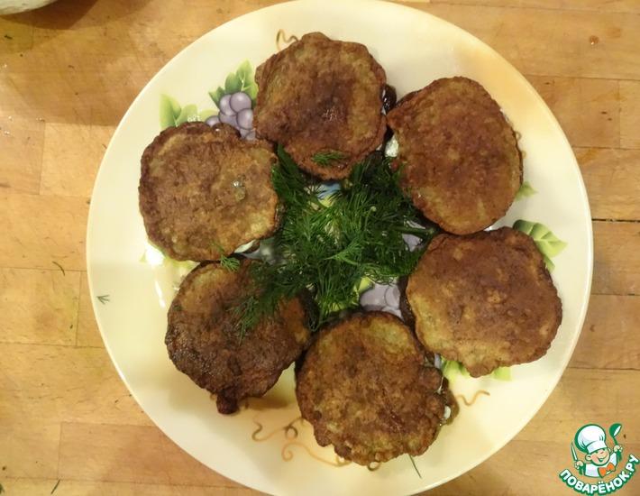 Рецепт: Оладьи из говяжей печени