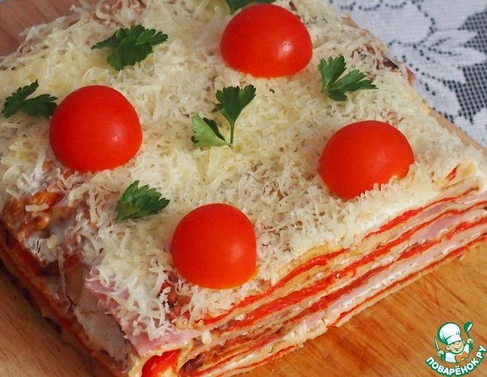 Рецепт: Закусочный торт из красного перца